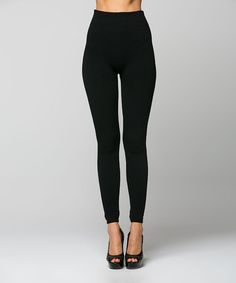 Another great find on #zulily! Black Fleece-Lined High-Waist Leggings by La Scala #zulilyfinds