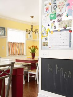 Add a Message Center                                     Establish a message center near the kitchen telephone. Put a bulletin board, chalkboard, or whiteboard on the wall, and store a calendar, notebook, and writing utensils in a nearby drawer