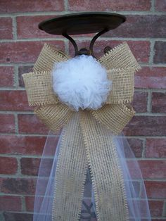 Burlap and Tulle Pew Bows, Custom Color Pew Bows, Rustic Wedding Decor, Country Wedding Bows. $12.00, via Etsy.