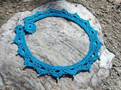 """crochet necklace with seed beads - """"Classy"""" in blue"""