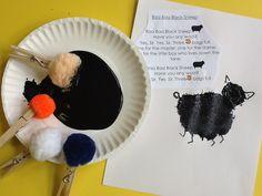 Nursery rhymes- Baa baa black sheep painting with wool.