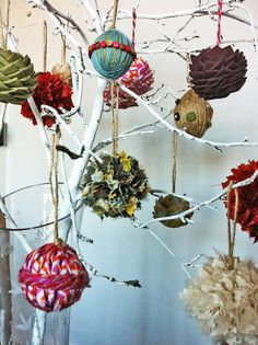 Painted branch with handmade christmas ornaments #diy #crafts