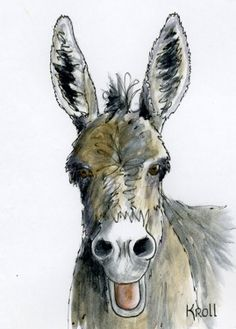 A Mule A Day burro begging for attention and treats by SuesArt