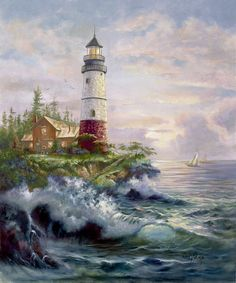 Seaside Lighthouse Diamond Embroidery Painting Cross Stitch Mosaic Pattern Square Rhinestone needlework gift Home Decor Canvas Pictures, Pictures To Paint, Thomas Kinkade Art, Kinkade Paintings, Thomas Kincaid, Lighthouse Painting, Lighthouse Pictures, Sea Art, Watercolor Landscape