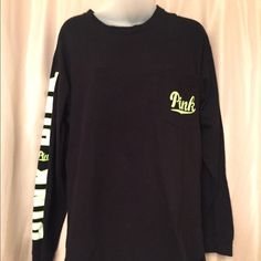Black & Neon Green Varsity Longsleeve VS Pink longsleeve top in a size large. Comfy and casual :) PINK Victoria's Secret Tops Tees - Long Sleeve