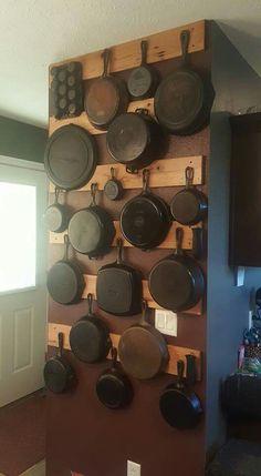 . Kitchen Storage Solutions, Diy Kitchen Storage, Pantry Design, Kitchen Design, Rustic Kitchen, Kitchen Decor, Iron Storage, Cast Iron Cookware, Iron Wall