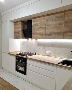 Kitchen Room Design, Kitchen Cabinet Design, Home Decor Kitchen, Interior Design Kitchen, Home Kitchens, Modern Grey Kitchen, Modern Kitchen Interiors, Modern Kitchen Design, Cuisines Design