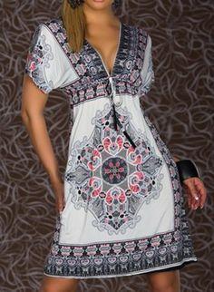 Bohemian Plunging Neck Short Sleeve Printed Women's DressPrint Dresses   RoseGal.com