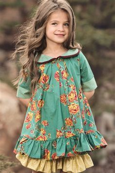 Persnickety Clothing - Emerald Pine Isabelle Dress in Turquoise - - Source by clothing brand Little Girl Fashion, Little Girl Dresses, Fashion Kids, Girls Dresses, Winter Fashion, Cute Little Girls, Fashion Dolls, Womens Fashion, Girls Clothing Brands