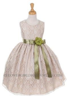 CC_1132CHSG - Girls Dress Style 1132- CHAMPAGNE Taffeta and Lace Dress with SAGE Accents - Green - Flower Girl Dress For Less