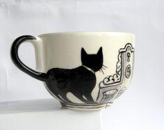 Amsterdam cats   Big Handpainted Mug made to by houseofharriet, $65.00
