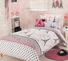 Pink Paris Bedding | Details about PARIS CHIC Eiffel Tower Pink White QUEEN Quilt Cover ...