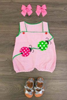5b887d1c7c37c Pink Stripe Ladybug Infant Romper Pink Stripes