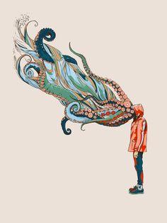 """Octopus in me"" Art Print by Huebucket on Society6."