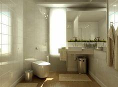 Weißes Badezimmer mit Waschbecken in der Ecke