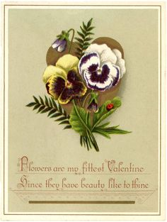 This is a Lovely Free Valentine Pansies Image! This is a beautiful Circa 1880 Antique Valentine Card! Valentine Images, Valentine Day Love, Victorian Valentines, Vintage Valentines, Graphics Fairy, Free Graphics, Valentines Photo Booth, Valentines Flowers, Vintage Cards