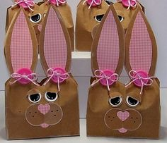 Bunny Bags by ! - Cards and Paper Crafts at Splitcoaststampers Paper Bag Crafts, Wrapping Paper Crafts, Paper Bags, Bunny Crafts, Easter Crafts, Crafts For Kids, Spring Crafts, Holiday Crafts, Easter Craft Activities