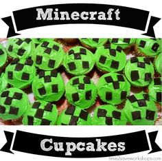 Easy Minecraft Cake and Creeper Cupcakes