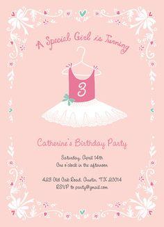 Ballerina Birthday Age Specific Birthday Invitation
