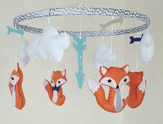 Todd Fox Baby Mobile Arrows Bow Tie Nursery by GraceAnnBaby