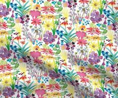 Meadow mash white custom fabric by rachael_king for sale on Spoonflower Built Ins, Surface Design, Custom Fabric, Spoonflower, Craft Projects, Vibrant, Gift Wrapping, King, Quilts