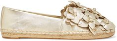 Tory Burch Blossom Metallic AppliquÉd Textured-leather Espadrilles In Spark Gold Tory Burch, Top Designer Brands, Designer Shoes, Sea Dress, Leather Espadrilles, White Mini Dress, Gold Texture, Cropped Trousers, Ankle Socks
