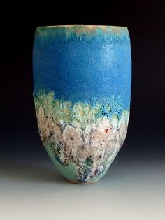 Beautiful! Thrown Stoneware with lava/crater and turquoise Barium glazes: Summer Collection
