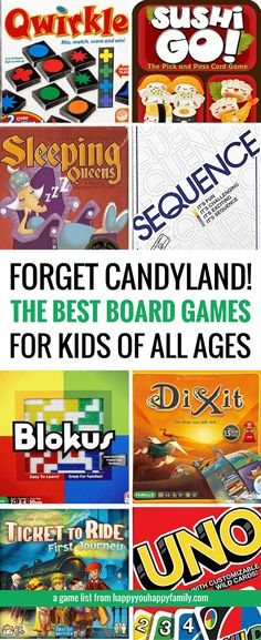 This is the best list of board games for kids that work for a wide range or ages, from preschoolers to teens and beyond. These card games and board games are so much fun that adults love them, too! Because life is too short for suffering through Candyland Board Games For Kids, Games For Teens, Adult Games, Board Games For Preschoolers, Best Games For Kids, Childrens Board Games, Adult Fun, Activity Games, Fun Games