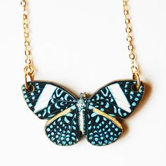 Dotted Blue Butterfly Necklace