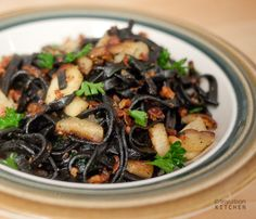 Squid Ink Pasta with Parsnips and Pancetta; folks brought home squid ink pasta from France for me, must make this with it!