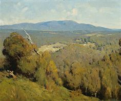 """""""Yarra Valley Landscape,"""" Penleigh Boyd, View In High Resolution. Landscape Artwork, Contemporary Landscape, Cool Landscapes, Landscape Lighting, Australian Painting, Australian Artists, Valley Landscape, Forest Painting, Traditional Paintings"""
