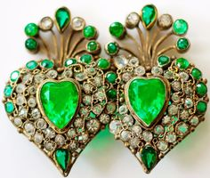 VINTAGE HOBE SIGNED EXTREMELY RARE DOUBLE HEART GREEN FILIGREE BROOCH #HOBE