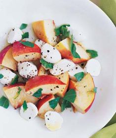 Peach, Mozzarella, and Basil Salad  Basil, olive oil, and fresh mozzarella are a classic Italian combination; add sliced peaches for a sweet, summery twist.