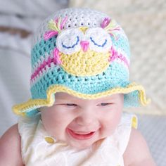"""""""Fun in the sun baby crochet hat pattern! Crocheted in 100% cotton perfect for a summer baby! @kerryjaynedesigns #crochet #crochetpatterns…"""""""