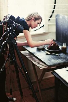 Katie Quinn Davies shooting and styling food.