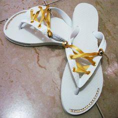 Chinelo Slim Branco - Customizado