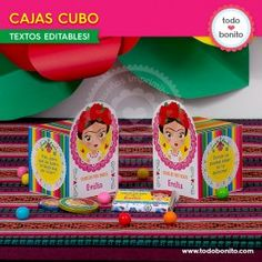 Frida - Todo Bonito Lunch Box, Candy, Birthday, Mayo, Mexican Fiesta Party, Cubes, Decorated Boxes, Themed Parties, Filing Cabinets