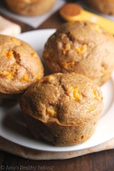 Small-Batch Maple Peach Muffins -- an easy clean-eating recipe with the same taste as peach pie! These skinny muffins have the same texture as cupcakes!