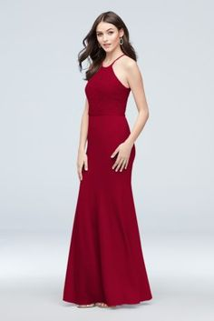35463139259 Lace and Stretch Crepe High-Neck Bridesmaid Dress