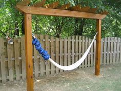 Hammock stand // not a huge amount of space, by the fire pit?, could double as a clothesline area/anchor?