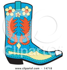 Clipart of a Cartoon Cowboy Boots with Spurs - Royalty Free Vector ...