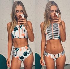 3895854 palm tree printed stripe bikini