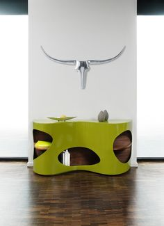 lime, furniture, console, modern, veneer, decorating.....Loooove this !!