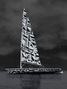 Marian Bantjes Wallpaper* Laser Sailboat (2010) vinyl and paint on Laser sailboat, edition of 10