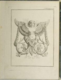 Print, Design for a Sphinx, pl. 2, Deuxieme Cahiers des arabesques dessinés par J. B. Huet... [Book 2, Portfolios of Arabesques Designed by J.B. Huet], 1736–93