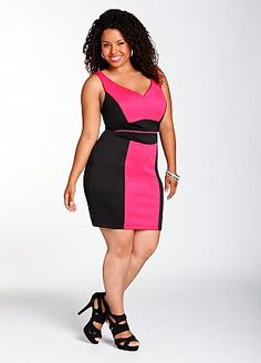 Ashley stewart pink and black dress