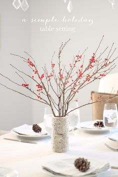 simple & beautiful holiday decor including a DIY birch vase & tips for hosting a stress free holiday dinner