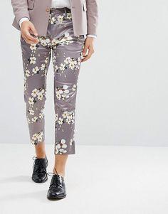 ASOS Wedding Skinny Crop Smart Pants With Light Gray Floral Print - Gr