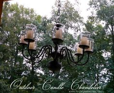 Repurposed Brass Lighting Fixture turned Outdoor Candle Chandelier