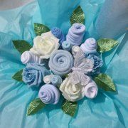 Luxury Blue Sensation Baby Bouquet ~ Made with Real Baby Clothes!
